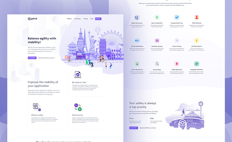 Ride Sharing Landing Page Ui Inspiration