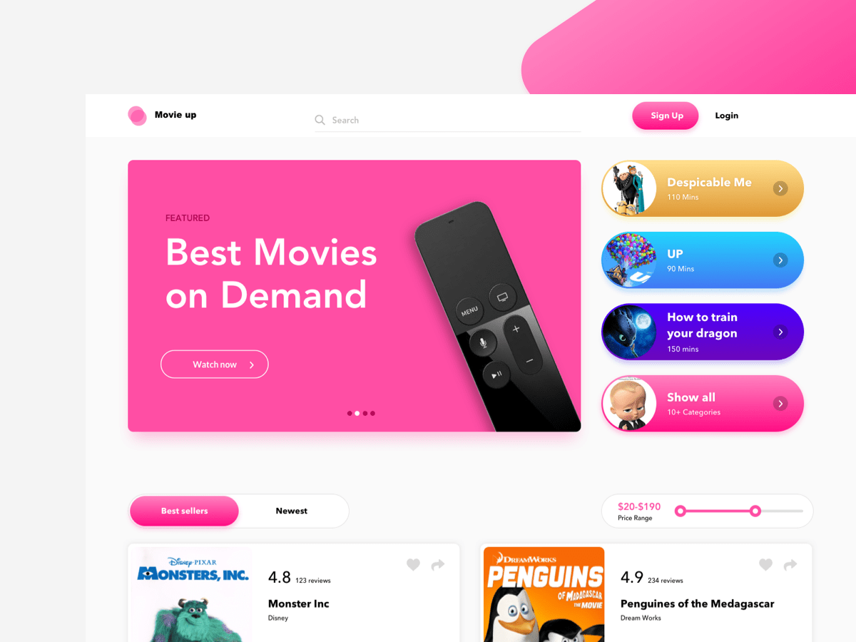 Movies on Demand App Ui Inspiration