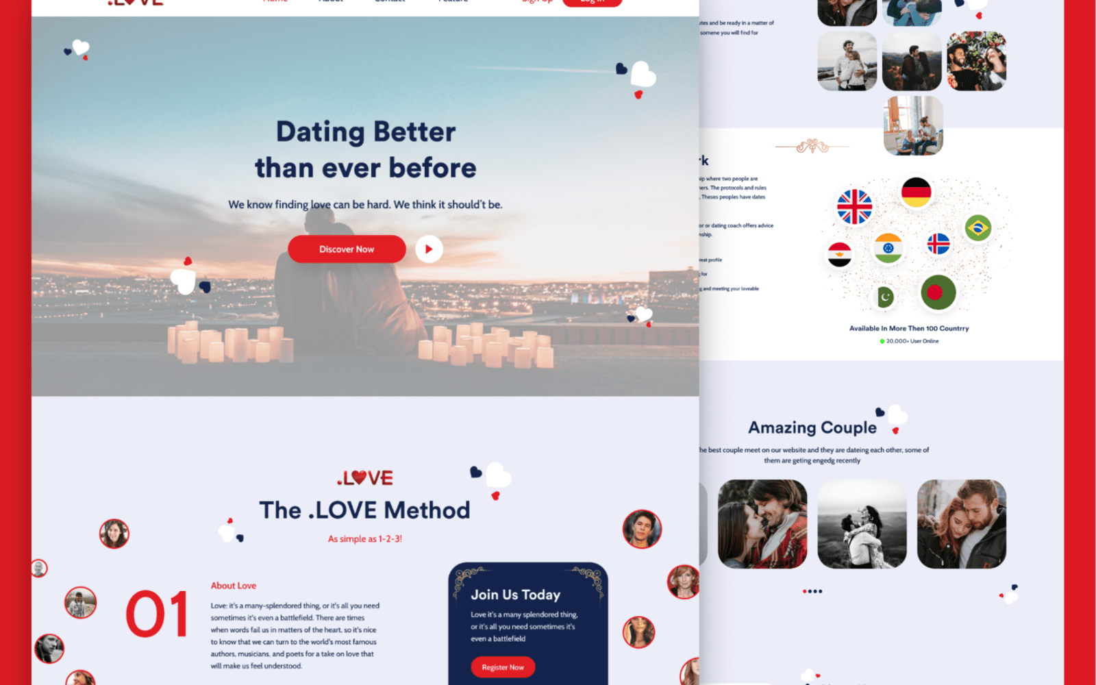 Dating Website Landing Page Ui Inspiration