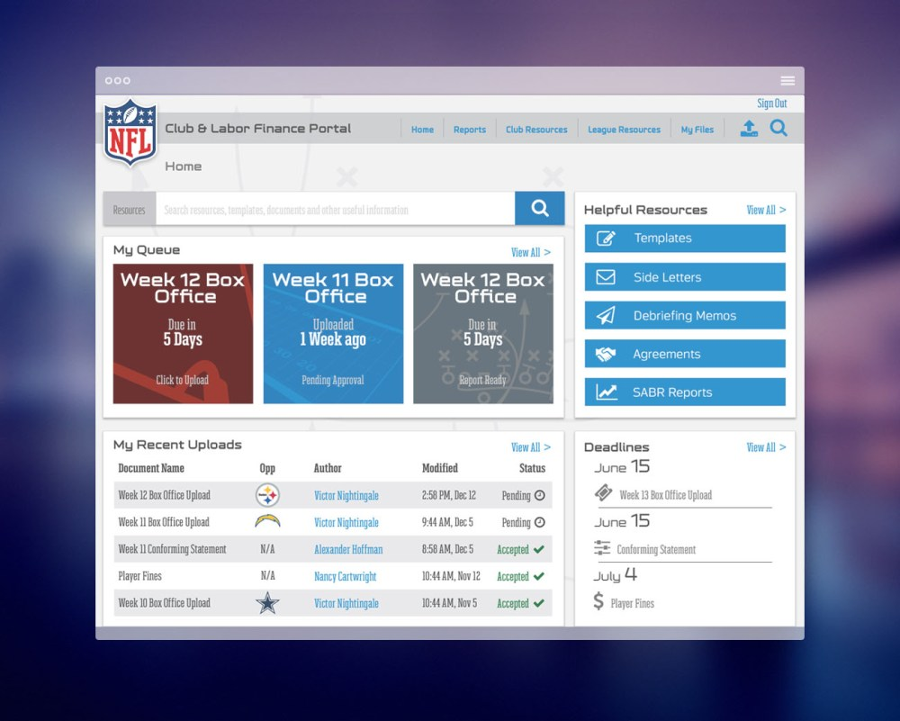 NFL Finance Home