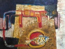 Cá để miệng mèo- Tranh sơn dầu trên vải của Tào Linh. Khổ: 60x80cm. St năm 2015. Giá khởi điểm: 15 triệu VND
