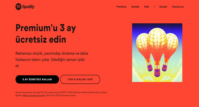 spotify ilk 3 ay ucretsiz