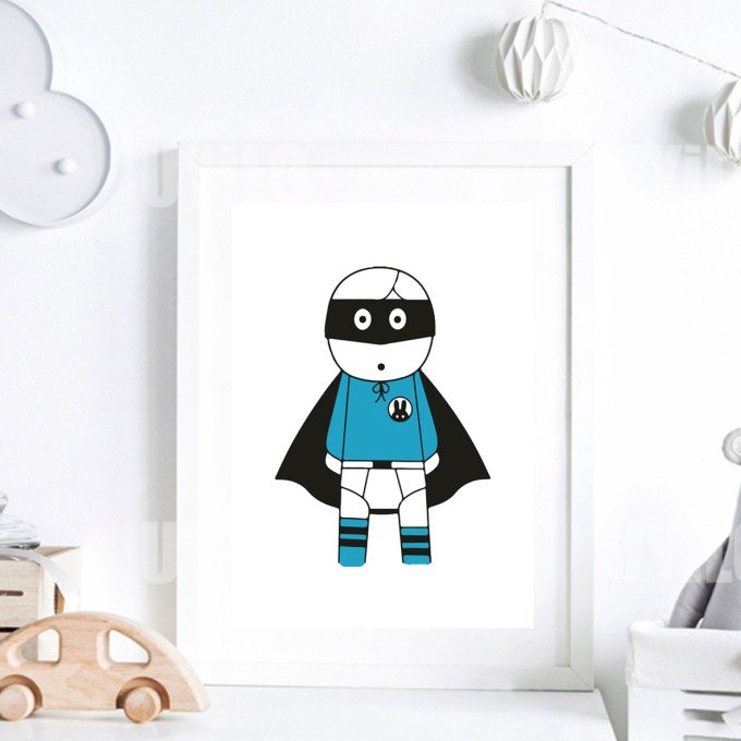 Scandinavian Nursery Decor, Super Hero in Blue Color mo_