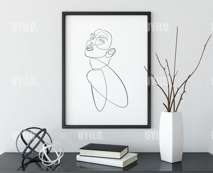Illustration Woman Body Figure , Line Art, Wall Decoration, Digital