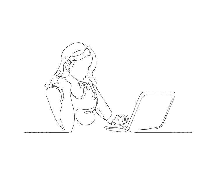 Line Drawing Girl Sits at a Laptop