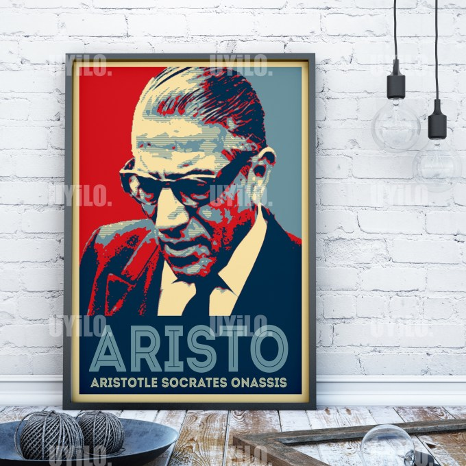 Aristotle Socrates Onassis in the style of the iconic Barack Obama Hope Poster