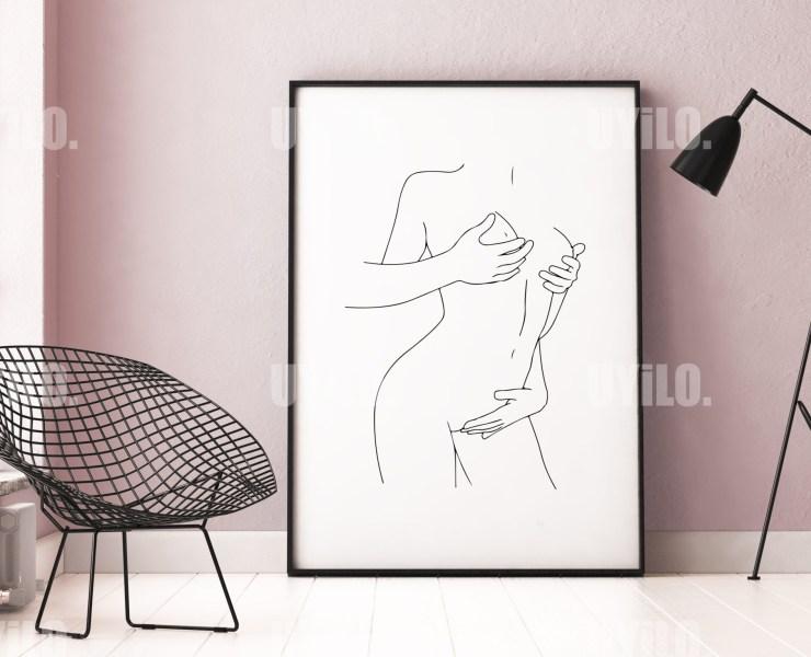 Love Scene, Erotic Wall Art, Line Art, Wall Decoration, Digital, Poster
