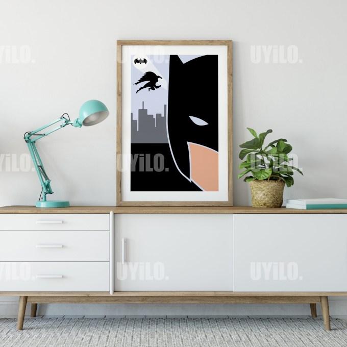 Minimalist Batman Digital Download, Wall Art Print
