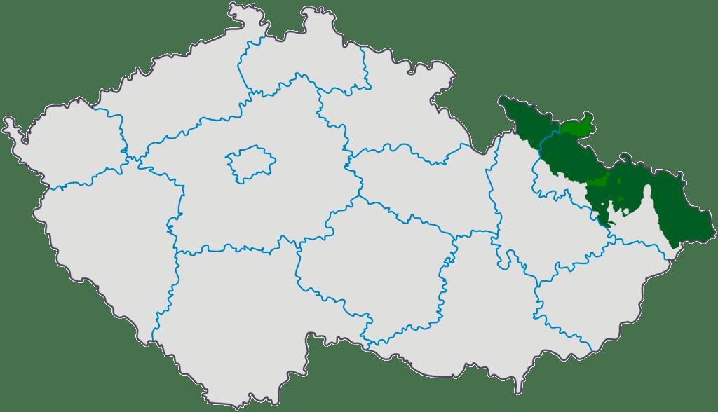 Силезия на карте Чешской Республики