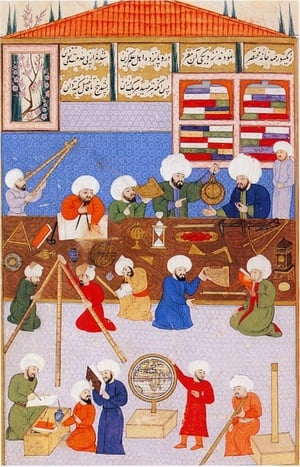 """Takiyüddin'in rasathanesi - III. Murat'a sunulan """"Şehinşahname""""'den minyatür"""
