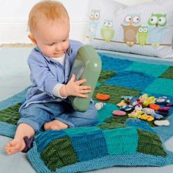 Вязание для малышей КОВРИК И ПОДУШКА С РЕЛЬЕФНЫМИ УЗОРАМИ СПИЦАМИ