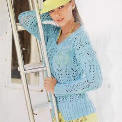 Бирюзовый ажурный пуловер спицами
