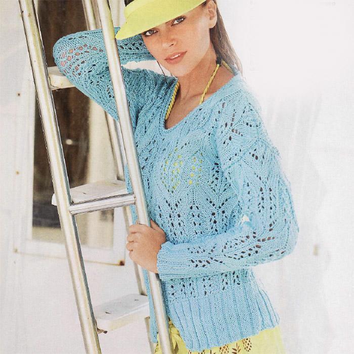 Бирюзовый ажурный пуловер спицами из хлопка