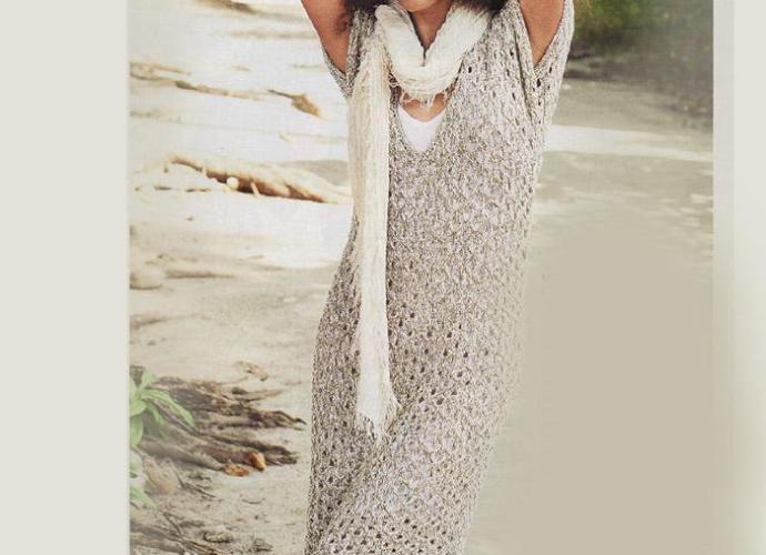 Летнее ажурное платье спицами