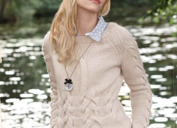 Пуловер спицами с рукавами реглан