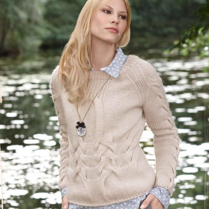 Вязание для женщин. Пуловер спицами с рукавами реглан