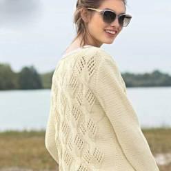 Вязание для женщин. Пуловер с ажурным узором из «кос»