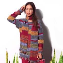 Вязание для женщин. Пуловер спицами и шарф с кистями