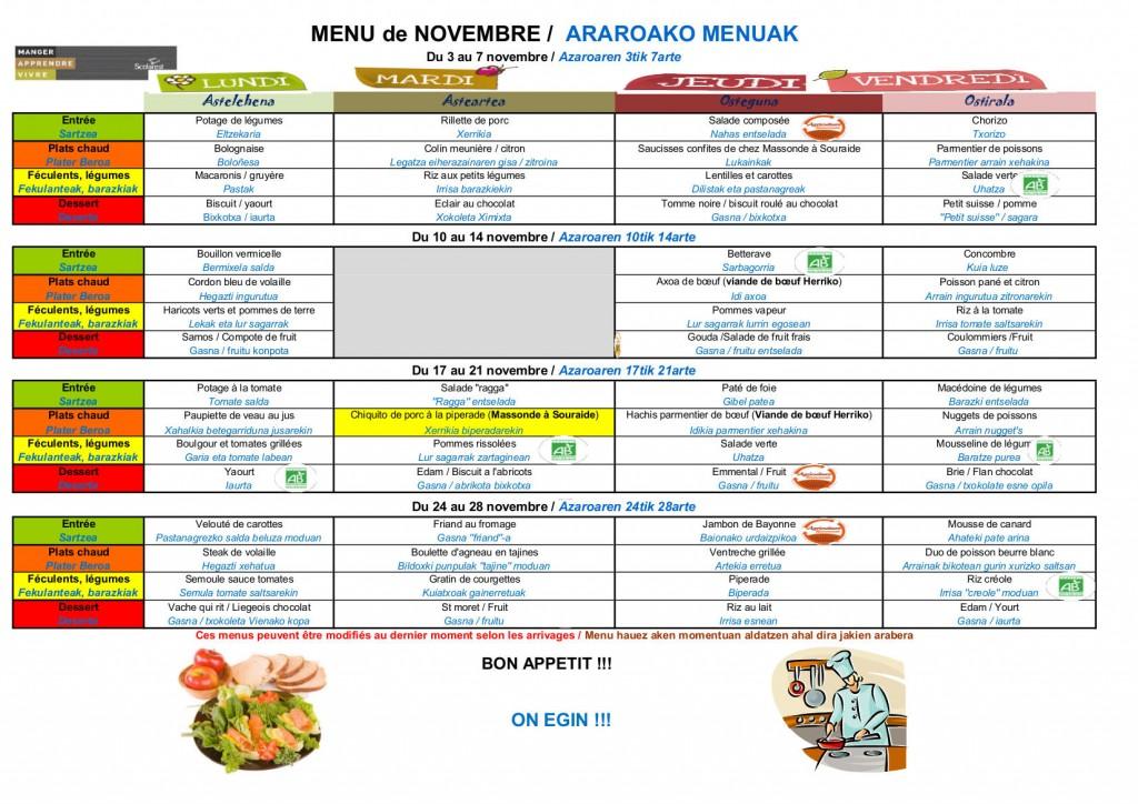 Azaroako menuak --menu de novembre
