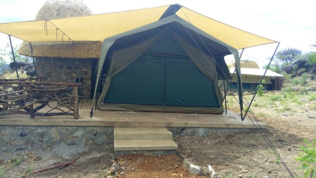 The new mid-range Kidepo Savannah lodge while under construction