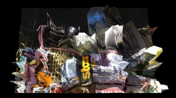 """Jack Dempsey Corner, Réinterprétation dimensionnelle n° r_398, vue de la caméra 3, 2013. Série """"New York est une sculpture géante""""."""