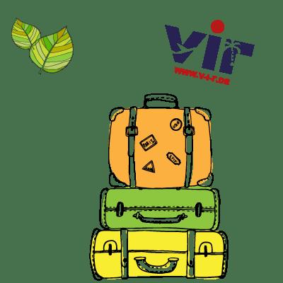 Koffer und Blätter