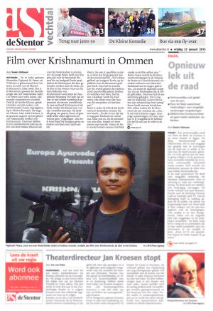 2011 De Stentor  'Film over Krishnamurti in Ommen'