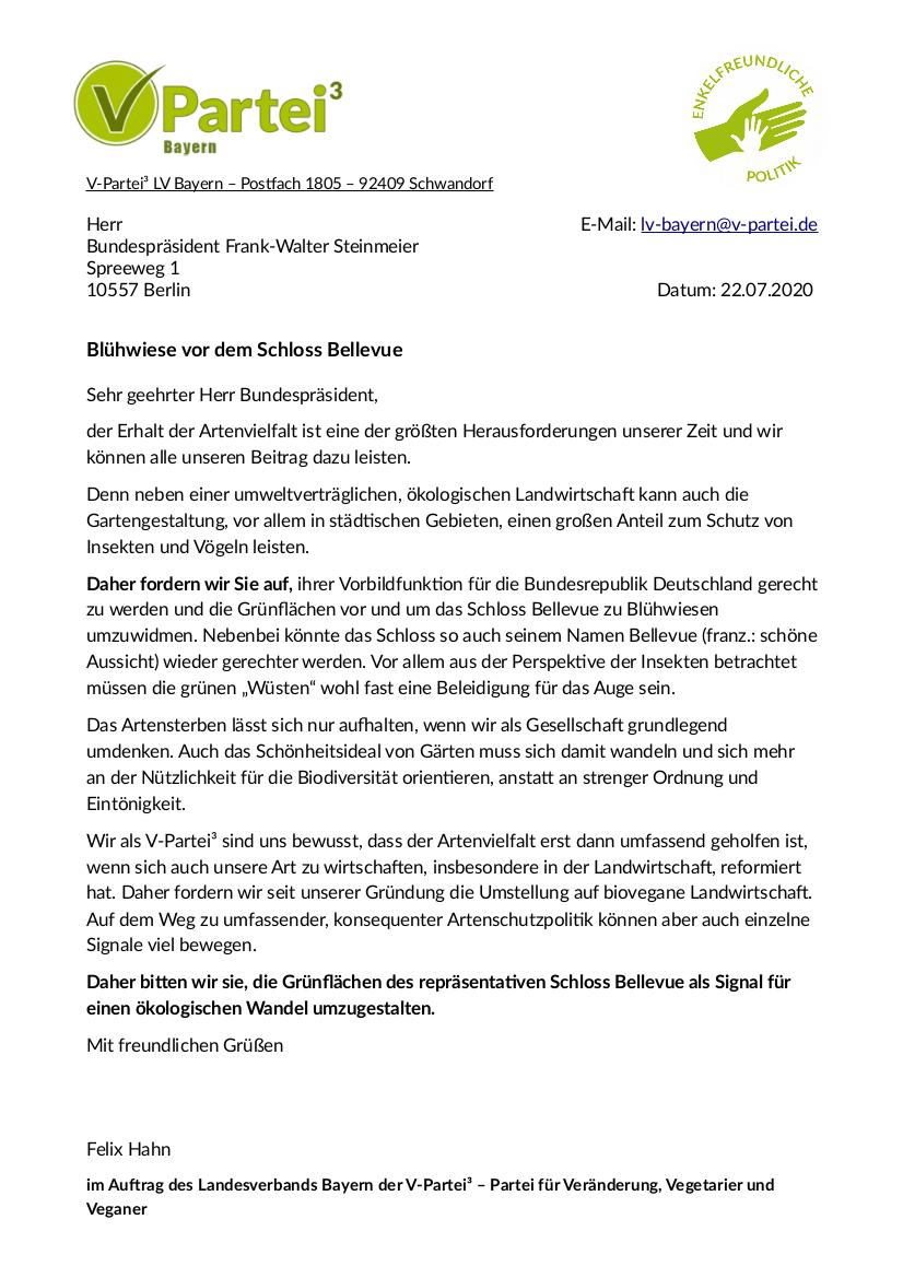 Offener Brief an den Bundespräsidenten für mehr Artenvielfalt