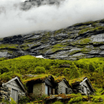 Log houses . Norway