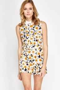 Collar Daisy Print Playsuit