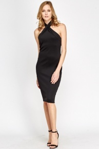 High Neck Around Bodycon Dress
