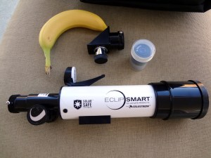 Celestron EclipSmart Travel scope. Banana for scale