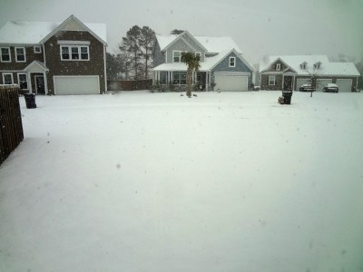 Snow covered yard