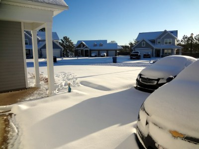 Snow filled front yard