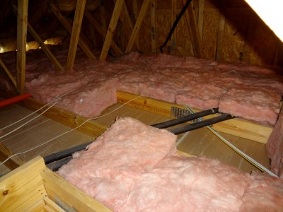 Half the insulation laid down