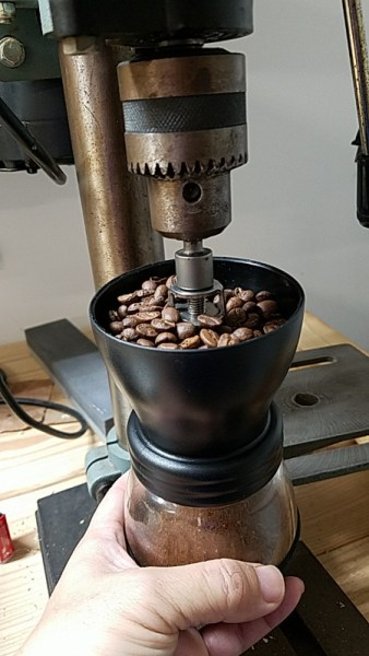 Ready to grind the coffee beans