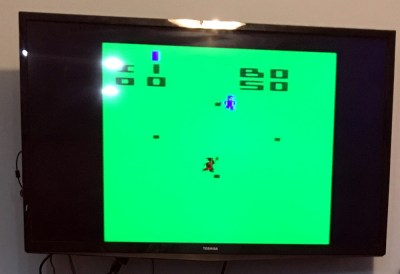Atari game on the television