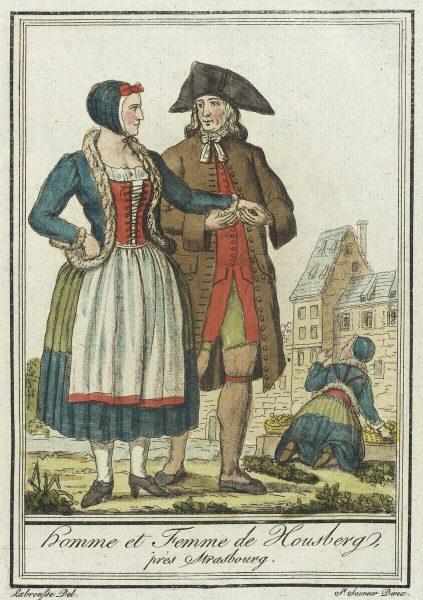 Costumes de Différent Pays, Homme et Femme de Housberg, près Strasbourg, Jacques Grasset de Saint-Sauveur (France, 1757-1810)