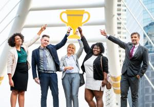 people holding up a paper trophy - How Cloud Managed Services Can Propel Your Business: 8 Key Benefits