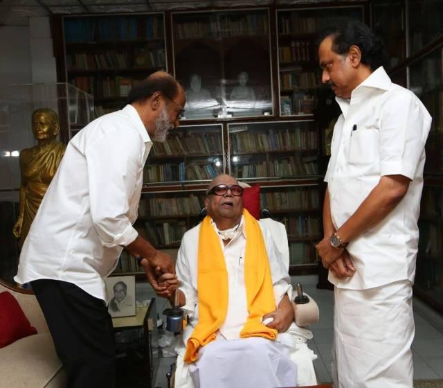 rajini meets karunanidhi and stalin watching