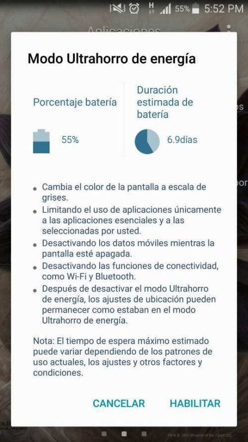 Modo ahorro de batería Android
