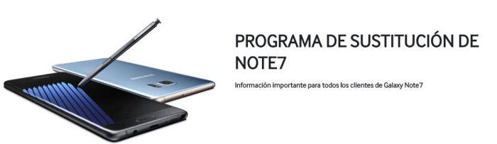 programa de sustitución de Samsung Galaxy Note 7