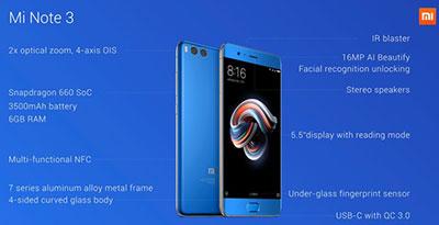 Especificaciones Xiaomi Mi Note 3