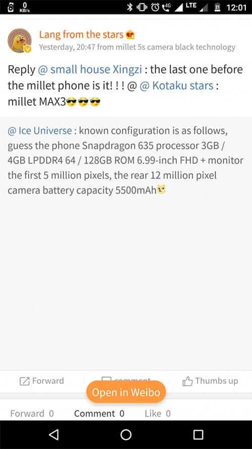nueva información xiaomi mi max 3