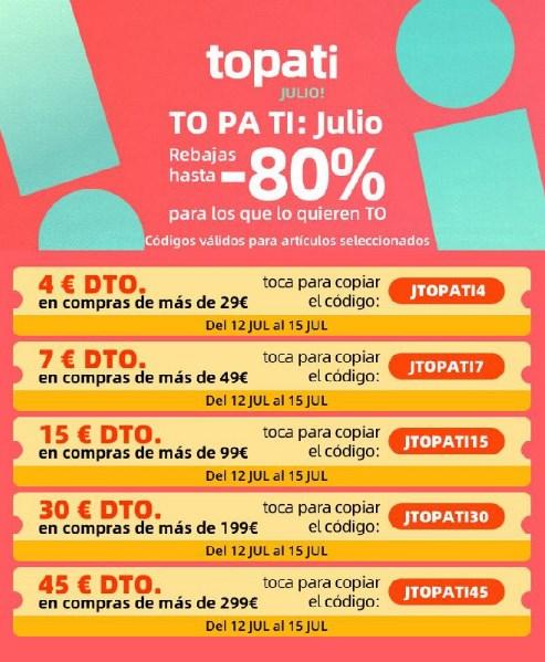 comprar Promoción Topati Julio en AliExpress cupones