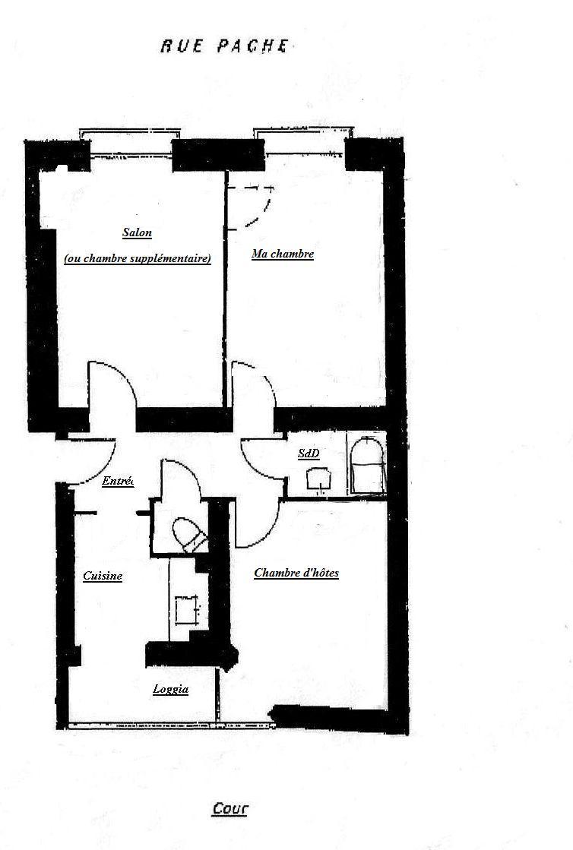 Le plan de l appartement vacances a paris for Chambre d hotes bastille