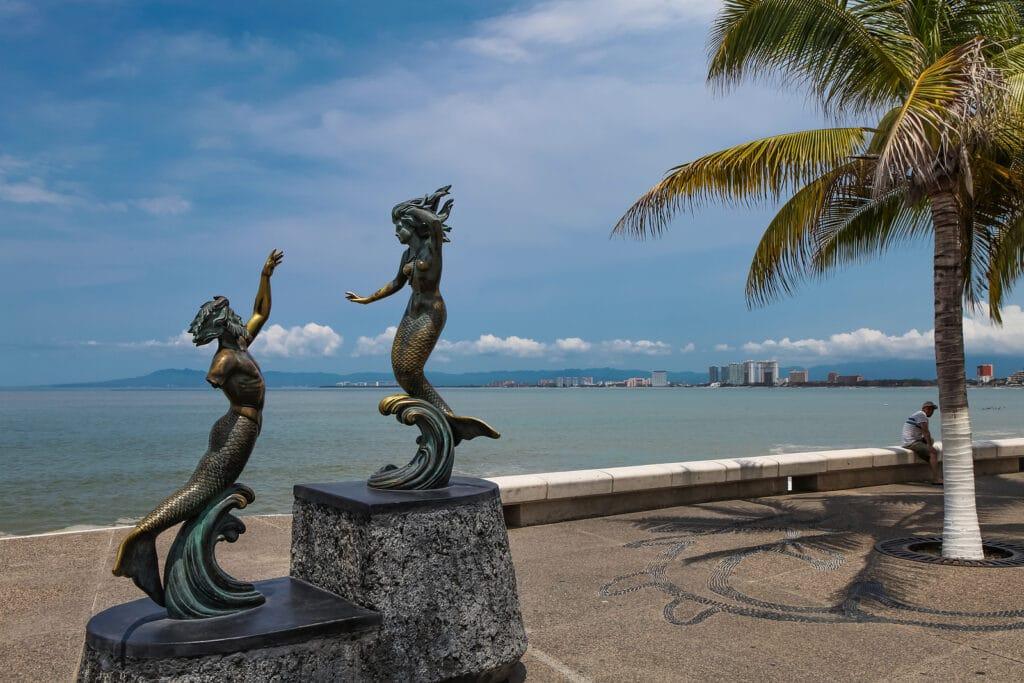 Triton and Nereida sculpture at Puerto Vallarta Mexico