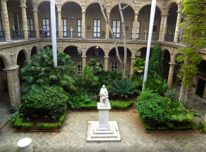 Courtyard with statue of Columbus, City Museum.
