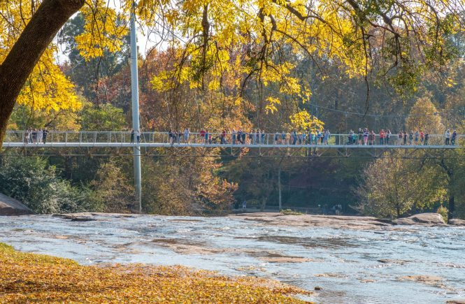 greenville south carolina's liberty bridge over the reedy falls