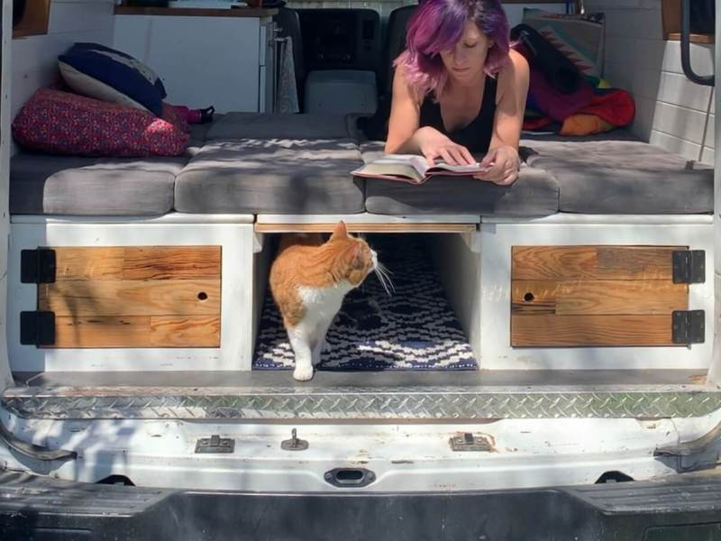 girl and cat in diy camper van reading on cushions
